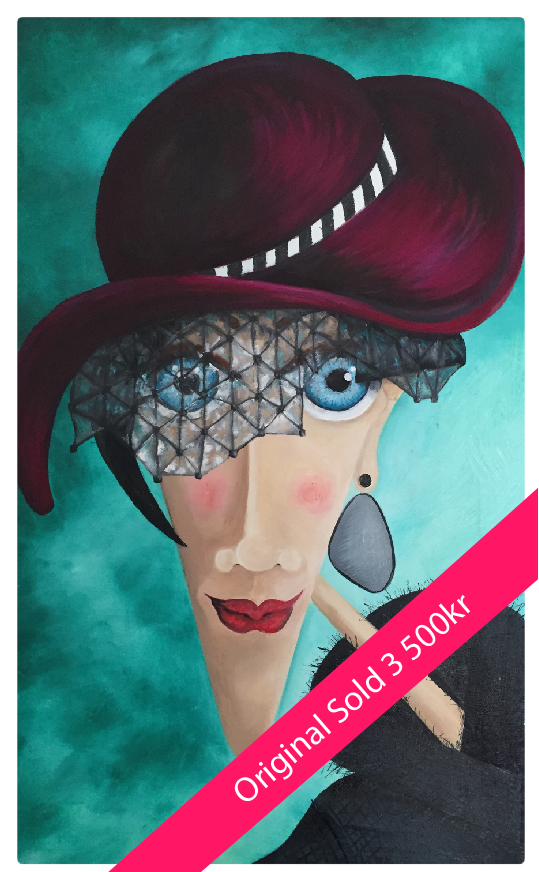 A woman widdow, with a hat, blue eyes and a large earring. Sold for 3 500 kr